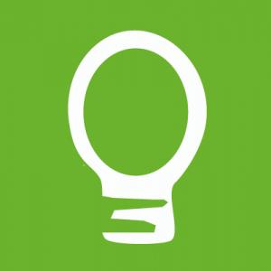 Glühbirnen-Icon auf grünem Hintergrund