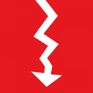 Biltz-Icon auf rotem Hintergrund