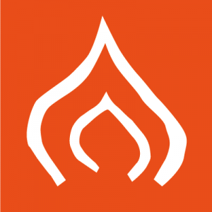 Feuer-Icon auf orangenem Hintergrund